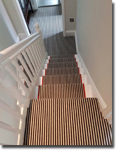 We love this runner which we made with a burnt orange border to make it stand out