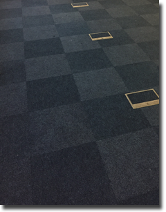 Carpet tiles fitted for Parker steel